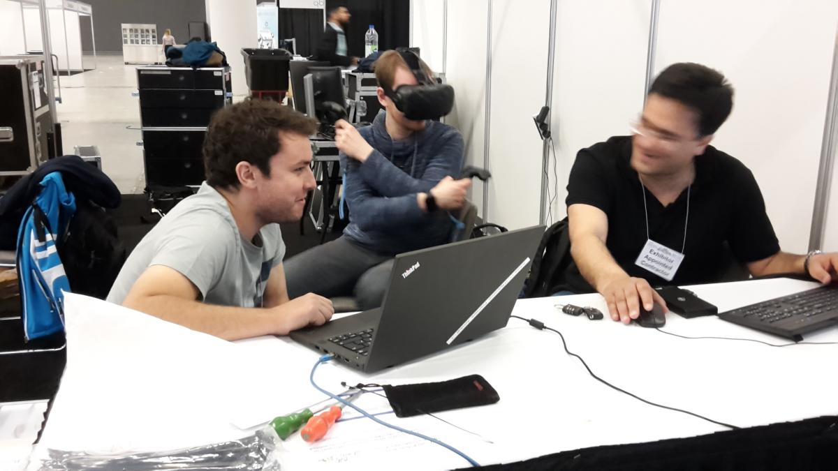 Sven, Heiko, and Pouya setting up the VR.